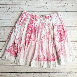 ANTHROPOLOGIE Odille Pink Toile Full Skirt Knee 10